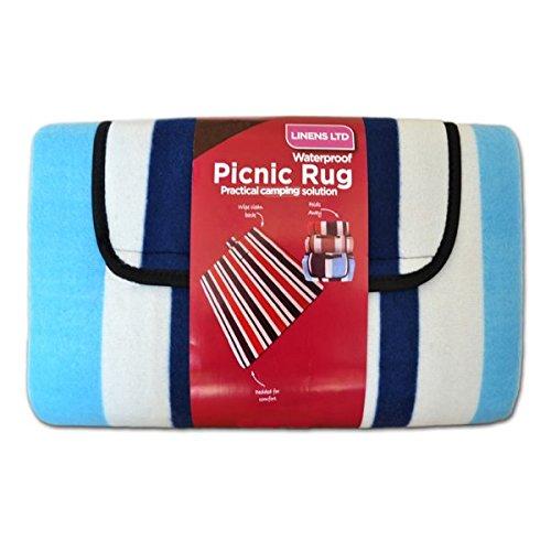 Linens Limited - Couverture de pique-nique - polaire - résiste à l'eau - rayures - bleu - 105 x 135 cm
