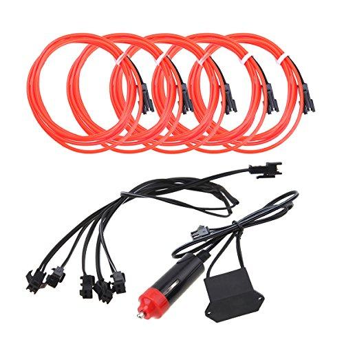 5pcs Neon Beleuchtung 1m EL Kabel Wire mit Zigarettenanzünder Kontroller Flexibel Wasserdicht Innenbeleuchtung für Weihnachten Halloween Partys Kostüm Autos Dekor Geschenk (Raum Halloween Kostüme)