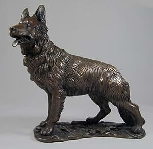 Large Bronze Sculpture German Shepherd Alsatian Dog Gsd Kitchen Home