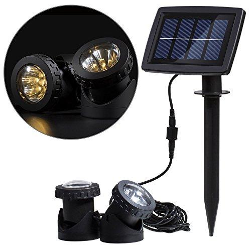 Lixada Solarspots Solarleuchte Solarlampe Unterwasserstrahler 12 LEDs mit Lichtsensor IP68 für Pool Teich Yard(Warmweiß)