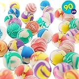 THE TWIDDLERS 90 Bouncy Ball - Bambini Palline Rimbalzanti in Gomma - Palline Colorate con Design Diversi - Borse Regolo, Pallina Rimbalzine Idea Regalo per Compleanno, Premi E Regali di Natale
