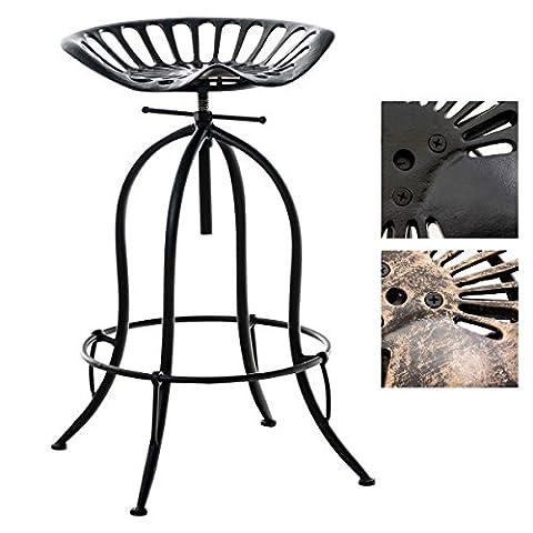 CLP Tabouret de bar MIMOSA style industriel, en métal, classique et robuste, réglable en hauteur en 70 - 90 cm noir