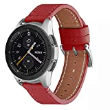 WFEAGL Compatible avec Bracelet Samsung Galaxy Watch 42mm/Gear S2 Classic/Gear Sport/Huawei Watch 2,20mm Supérieur en Cuir à Dégagement Rapide Bracelet (20mm, Rouge+Boucle Argent Square)