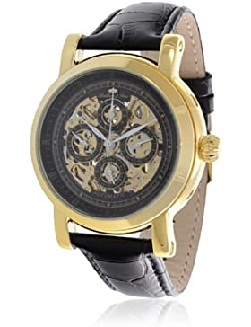 Lindberg & Sons Herren-Armbanduhr XL Skeleton - Special Edition Analog Automatik Leder LS13G01