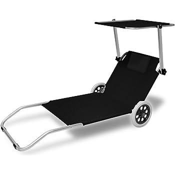 cb3d8d0fcca0f8 Chaise longue CRÊTE - bain de soleil plage en aluminium avec pare soleil -  Anthracite