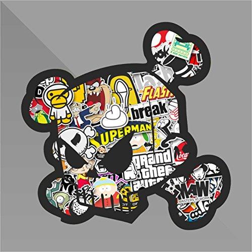 Sticker Bomb Ken Block Teschio Skull Crâne Cráneo Schädel - Decal Auto Moto Casco Wall Camper Bike Adesivo Adhesive Autocollant Pegatina Aufkleber - cm 10