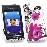 Emartbuy Sony Ericsson Xperia X8 Gel Skin Cover Purple Bloom