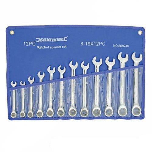 Silverline 868746 - Llaves combinadas con carraca, 12 pzas (8-19 mm)