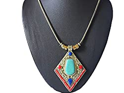 AyA Fashion Designer Traditional Oxidisd Golden Necklace with Orange Cylindrical work and Oxidised Golden Chain | Suitable for Women and Girls| Red, Blue and Sea Green Work |Elegant | Stylish, Trendy Unique Neckpeice | Partywear , Office Wear