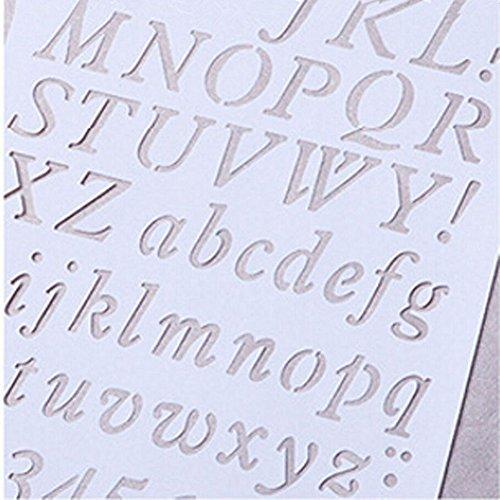 Tägliche Buchstabe Alphabet Zahl Hohl Schablonen Gemälde Scrapbooking Papier Karten Craft, plastik, #2, 20.7cm x 30.7cm(Approx.) (Alphabet-schablone Karten)