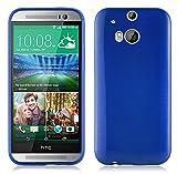 Cadorabo - Silikon TPU Schutzhülle für HTC ONE (M8 - 2.Gen) Hülle Case Cover in Edelstahl-Optik gebürstet (brushed) in BLAU