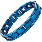 Willis Judd Blue Titanium Magnetic Bracelet with Link Removal Tool and Gift Box