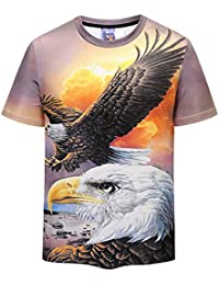cd7375a7a7ed99 XNRHH Men and Women Lovers Hip-hop Loose Large Size Street Style Blouse Eagle  Pattern