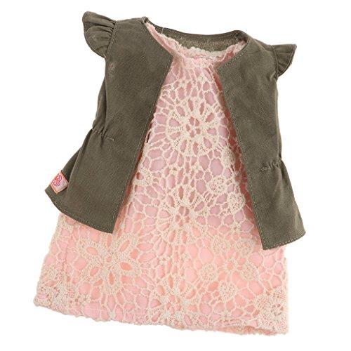 D DOLITY Vêtement de Poupée Gilet Jupe Décoration pour 18'' Fille Américaine Dolls Jouets Cadeaux Enfants - Robe Rose