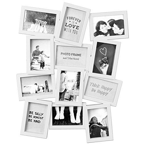 Fotogalerie 49x62x2cm für 12 Fotos im Format 10x15cm Bilderrahmen Fotorahmen Fotohalter Bildergalerie Fotocollage Multirahmen in 2 Farben (Weiß)