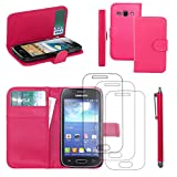 ebestStar - Compatibile Cover Samsung Ace 3 Galaxy GT-S7270, S7272, S7275 Custodia Portafoglio Pelle PU Protezione Libro Flip + Penna +3 Pellicole plastica, Rosa [Apparecchio: 121.2x62.7x9.8mm 4.0'']