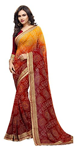Sarika Women's Georgette Rajasthani Bandhani Zari Lace Work Saree With Blouse