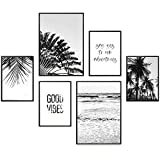 Heimlich Premium Poster Set | Stilvolles Set mit passenden Bilder als Wohnzimmer Deko | 2 x DIN A3 & 4 x DIN A4 - ca. 30x40 & 20x30 | Auch mit Bilderrahmen » Good Vibes «