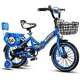 QXMEI Fahrrad Faltendes Fahrrad der Kinder 2-4-6-7-8-9-10 Jahre Altes Jungenfahrrad,Blue-16Inches