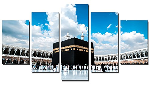 Fajerminart 5 Panels Das Heilige Land Muslimische Leinwand Gemälde Islam Mekka Wanddekorationen Drucke Auf Leinwand Holzrahmen Wohnzimmer Dekoration Stretch Auf Rahmen Gesamtgröße 90x150cm Zum Aufhängen (30x50cmx2 + 30x70cmx2 + 30x90cm)