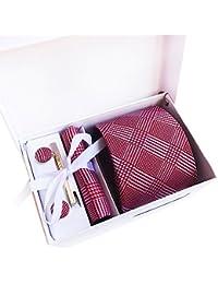 Amhillras Corbata de hombre caja conjunto con pañuelo gemelos y aguja de corbata hombre pajarita set de corbata