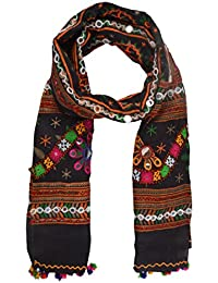 SK Women's Cotton Printed Dupatta With Hand Embroidery (Black)