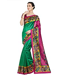 OOMPH! Raw Silk Saree With Blouse Piece (rbks_koyal020_green_Green_Free Size)