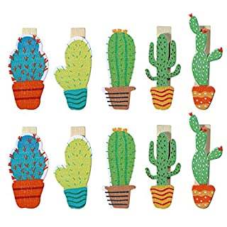 Toyvian 20pcs Mini Cactus Wooden Pegs Photo Paper Craft Clips for Party Favor Party Decoration