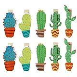 LUOEM Clips de madera Mini Colorful Cute Craft Clips Foto Papel Peg con cuerda de yute para Home...
