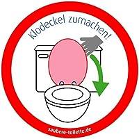Klodeckel runter - 4 Stück Saubere Toilette/WC Aufkleber (rund) Hygiene Aufkleber von immi.de 'Klodeckel zumachen'