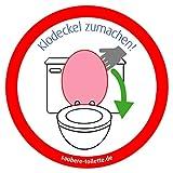 Klodeckel runter - 4 Stück Saubere Toilette/WC Aufkleber (rund) Hygiene Aufkleber von immi.de