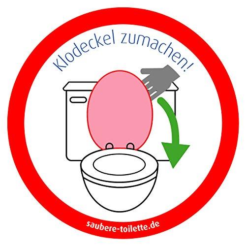Klodeckel runter - 4 Stück Saubere Toilette/WC Aufkleber (rund) Hygiene Aufkleber von immi.de \'Klodeckel zumachen\'