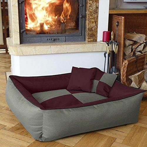 BedDog 2 en 1 colchón para perro MAX QUATTRO XXL aprox. 120x85 cm, 8 colores, cama para perro, sofá para perro, cesta para perro, burdeos/gris
