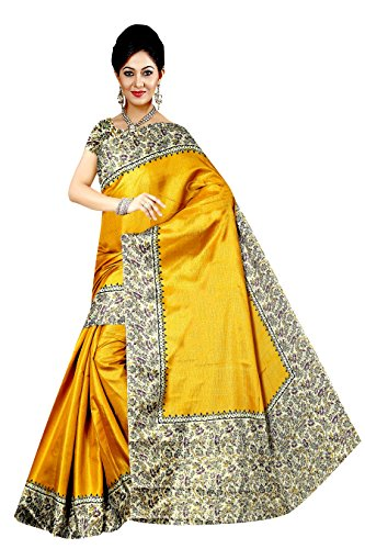 Winza Designer Cotton Saree With Blouse Piece (MANIPURI 11004_Stylish Mustard_Free Size)