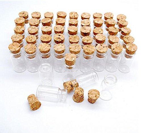 Art Glass Mini-anhänger (1ml Kleine Mini Glasflaschen Leere Gläser Fläschchen mit Korken Stopper Nachricht Hochzeiten Wunsch Schmuck Party Favors Nette Flaschen Perfekt für Arts & Crafts, Projekte, Dekoration, Party Favors (50pcs))