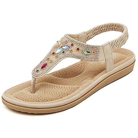 KE1AIP Women's Boho Rhinestones Clip Toe Sandals Beach Flip Flops Flat Shoes Roman Summer Sandals (EU36, Apricot)