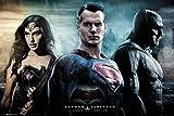 1art1® Poster + Suspension : Batman Vs Superman Poster (91x61 cm) City Et Kit De Fixation Noir