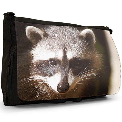 Raccoon–Borsa Tracolla Tela Nera Grande Scuola/Borsa Per Laptop A Little Raccoon