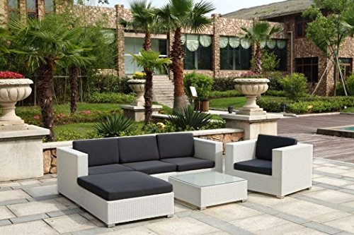 Au jardin de chloé - Salon canapé de jardin modulable avec angle et table basse résine tressée Design - FLORIE BLANC - Blanc - 5 places