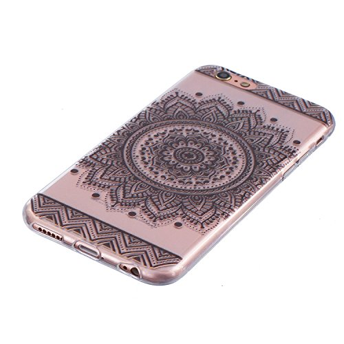 Cover iPhone 7, CXTcase Custodia Soft TPU Silicone Gel Flessibile Sottile Bumper Ultra Slim Trasparente Crystal Cover per Apple iPhone 7 Case Indiana Girasole Nero Mandala Nero