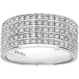 Naava 9ct White Gold Half Carat Multi Row Diamond Half Eternity Ring