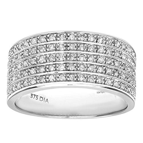 Naava - PR10183W-K - Anillo de mujer de oro blanco (9k) con 120 diamantes (talla: 10)