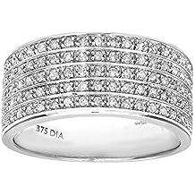 Naava - Anillo de eternidad para mujer de oro blanco 9 k (375) con diamantes