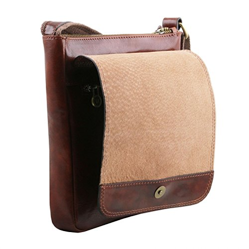 Tuscany Leather John Borsello da uomo in pelle con zip frontale Miele