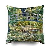 Monet Puente japonés con nenúfares Cojines Funda de Almohada para sofá Hogar Decorativo Almohada Ideas de Regalo Funda de Almohada para el hogar Fundas de Almohada con Cremallera 45x45cm