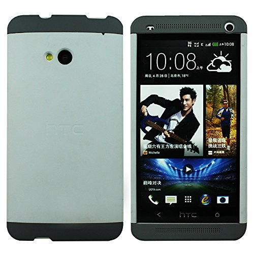 Heartly Double Dip Hard Shell Premium Back Case Cover For HTC One M7 Single Sim - Black White Grey  available at amazon for Rs.529