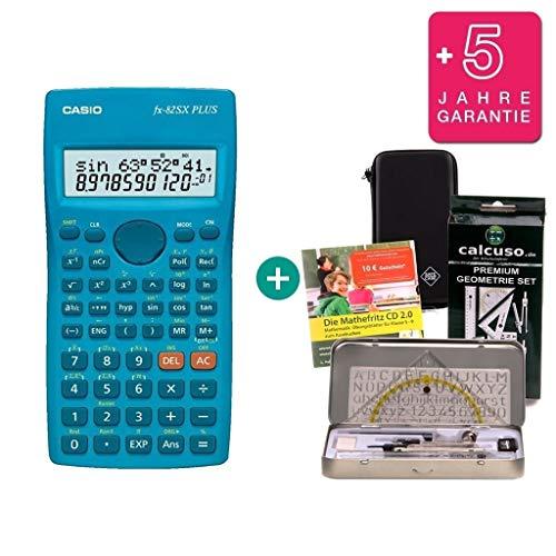 Streberpaket: Casio FX-82SX Plus + Schutztasche + Lern-CD (auf Deutsch) + Geometrie-Set + Erweiterte Garantie