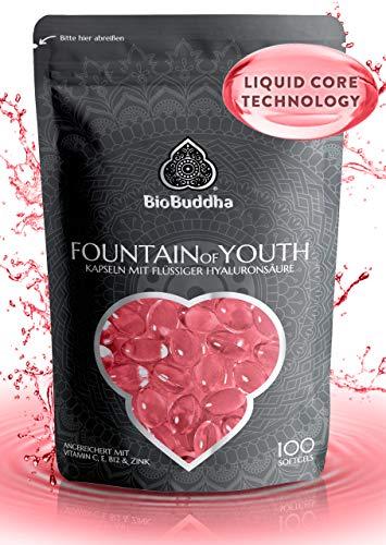 Hyaluronsäure Kapseln mit flüssigem Hyaluron, hochdosiert 500mg, angereichert mit Vitamin C, E, B12 und Zink, 3 Monats Ration, Anti-Aging für jüngere Haut und Gelenke