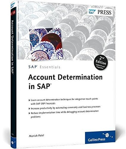 Account Determination in SAP: Learn important account determination techniques by Manish Patel (2011-11-28) par Manish Patel