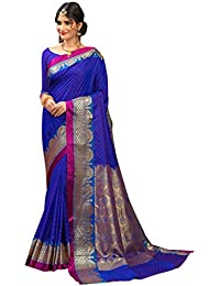 Craftsvilla Women's Silk Traditional Zari Border Blue Saree With Blouse Piece